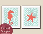 Seahorse and Starfish (series A) Set of 2 - 11x14 Art PRINT (Duck Egg and Hibiscus) (Modern French Style) Nautical/Beach Theme