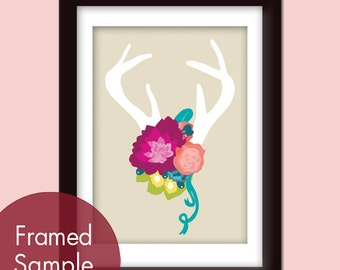 Deer Head Silhouette with Flowers (series B) 5x7 Art Print  (Assorted Colors) VIntage Modern Style (Customized Colors)