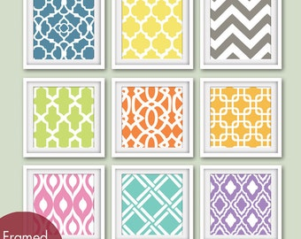 Modern Patterns (Series B) -Set of 9 - Square Prints - Featured in Assorted Colors (CUSTOMIZABLE Colors)