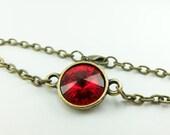 Red Bracelet Brass Chain Bracelet