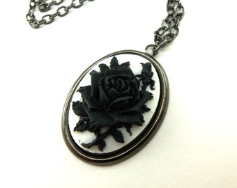 Gothic Rose Cameo Necklace Dark Silver Gothic Jewelry White Black Rose Necklace Rose Cameo