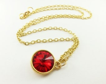 Candy Apple Red Necklace Gold Jewelry Bright Red Crystal Jewelry Gold Necklace Red Crystal Pendant