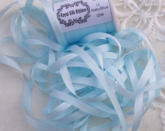 Pure Silk Ribbon 4mm  LT.Baby/Blue Color 10yds