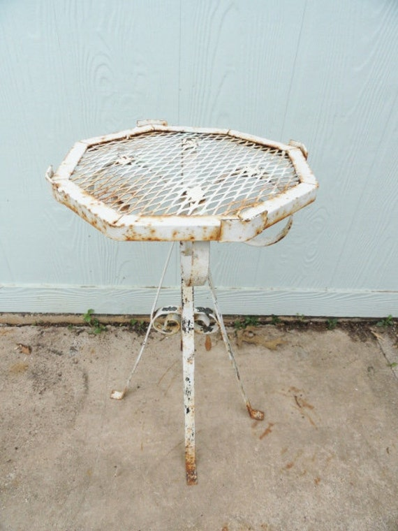 Vintage Table French Wrought Iron Side End Ornate Shabby