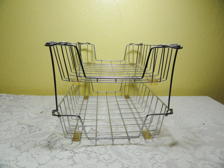 Vintage wire file basket office in out mail desk organizer 2 - Wire desk organizer ...