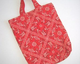 Boho, Hippie, Quilted Red Bandana Tote Bag,  purse. Unique handbag. Now Designs, San Francisco Vintage 1970.