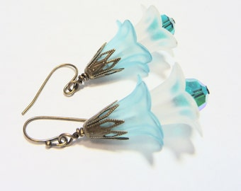 Spring Breeze and Clear Skies Two Tone Dangle Earrings