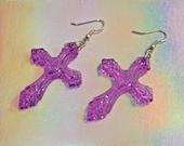 Neon Purple Dangle Cross Earrings
