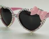 PINK Heart Rhinestone Sunglasses & Bow