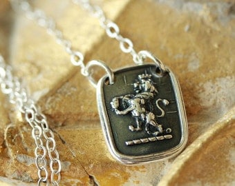 Rampant Lion Wax Seal Necklace - Fine Silver and Sterling Silver
