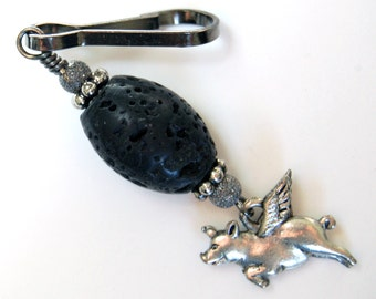 Flying Pig Zipper Pull - Black Lava Rock, When Pigs Fly Purse Charm, Pigs With Wings Backpack Charm, Pigasus Purse Charm