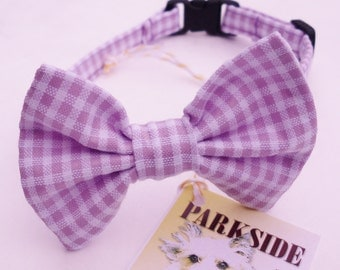 Lavender and White Seersucker Break Away Bowtie Collar for Cats