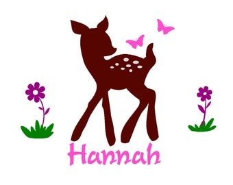 Girls room decor-Girls room decal-Wall sticker-Personalized decal-Baby deer with flowers and butterflies-42 X 32 inches, 735-KP