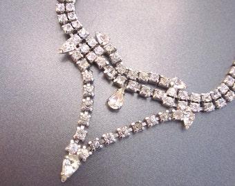 Vintage Rhinestone Necklace Formal Jewelry Bridal Necklace