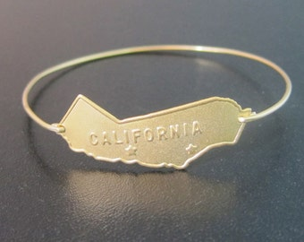 California Bracelet, California Jewelry, Western Jewelry, Western Bracelet, Golden, California State Jewelry, California Bangle Bracelet