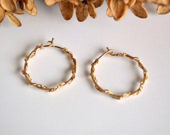 Gold braided wire hoop earrings, small gold hoop earrings, gold jewelry