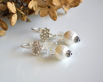 White pearl and crystal wedding earrings, bridal jewelry, sparkling earrings