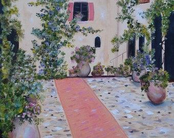 Courtyard Garden - landscape oil painting, original painting, flowers, home, 16x20