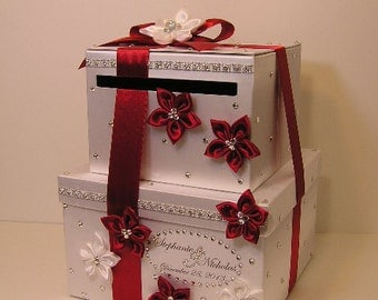 Wedding  Card Box 2 tier White and Red/Scarlet Gift Card Box Money Card Box Holder-customize your color