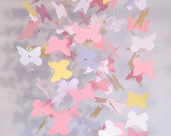Nursery Mobile Butterfly Pink Yellow and White Baby Girl Nursery