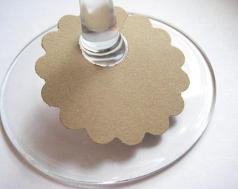 Large Brown Wine Glass Tags, Wine Glass Charms
