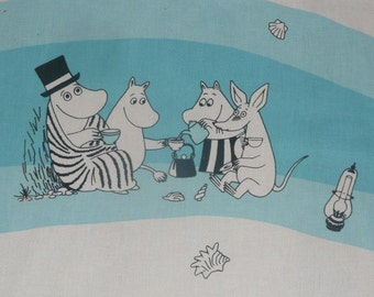 Moomin fabric Sea Moomin white and light blue turquoise really lovely