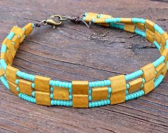 CLEARANCE - Wood Grain Tile Bracelet - Turquoise Glass Seed Beads, Wood Grain Glass Tiles, Geometric Pattern Bracelet