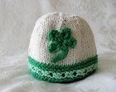 St. Paddy's Day Knitted Irish Baby Hat Baby Beanie St. Patrick's Day Hat Shamrock Baby Hat Knitted Shamrock Hat Hand Knitted Baby Clothing