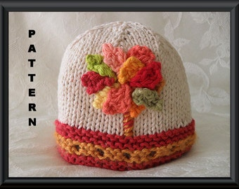 Knitting Pattern for Baby Beanie in Fall Colors: FALL FOLIAGE