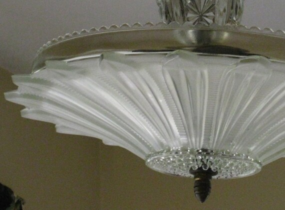 Vintage Ceiling Chandelier Art Deco Sunflower Heavy Frosted