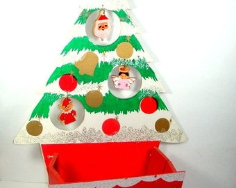 Vintage Wood Holiday Mail Box, Retro Christmas Card Holder,  Christmas Tree, Container, Box  (7747)