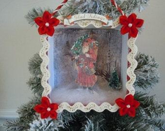 Santa Clause Shadow Box, Diorama, Christmas Ornament, Paper Ornament, Holiday Decor, Holiday Ornament, Display, Christmas Decoration