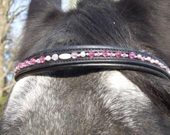 custom brow bands in various colors, gemstones.