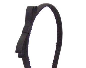 Black Bow Headband - little girl, big girl, adult -Satin Skinny Headband Black w/ Small Bow - Blair Waldor Simple Black Bow Headband