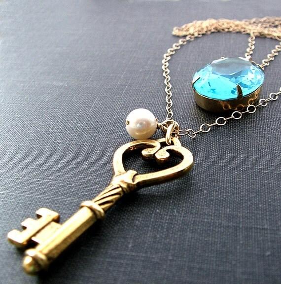 Gold Skeleton Key Necklace / Two Strand Necklace / Aquamarine Blue Necklace / 14K Gold Fill
