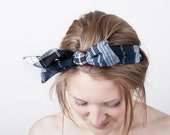 The Flora indian blue cotton bow headband, hair, bow tie, pretty, japanese style, lovely, creme, japanese sewing books, romantic, one size