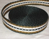 Dark green gold, and white inkle trim (over 14 feet - hand woven)