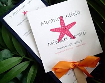 Starfish program, Starfish menu, Coral menu, Fan program, Beach wedding , destination wedding
