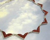 Art Deco Necklace Sterling Silver Vintage Carnelian Glass Stones