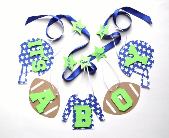 football baby shower decorations blue and green it 39 s a boy banner by