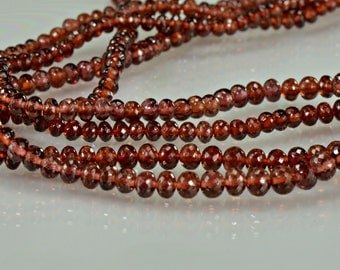 Sale -AAA Garnet Rondelles AAA Gemstone Rondelles   Micro Faceted  3-4mm , 8 inches