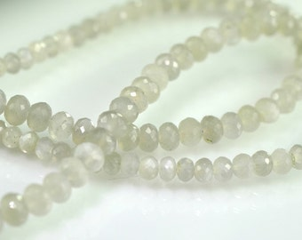 Sale -AAA Grey Moonstone Rondelles Micro Faceted  Grey Moonstone Gemstone Beads 8 inches