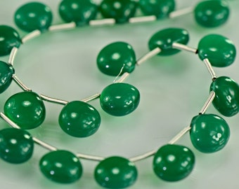 Green Onyx  Briolettes AAA Green Onyx Smooth Heart Shaped Briolette Gemstone Beads