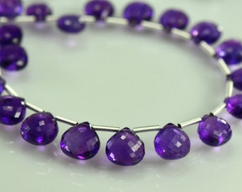 Amethyst Briolettes Micro Faceted AAA Amethyst Heart Briolette Beads 10-12mm