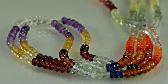 Multi Gemstone Rondelles AAA Gemstone Beads Citrine Garnet Amethyst Crystal Carnelian Smaller Size, 4mm Half Strand