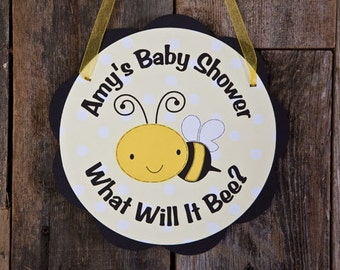 Bee Themed Baby Shower Door Hanger in Yellow and Black - Bee Baby Shower Decorations