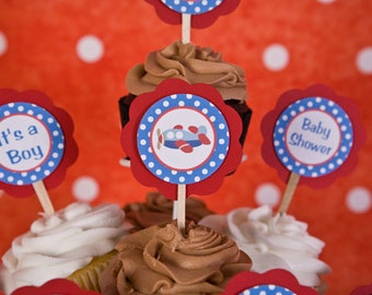 Airplane CUPCAKE TOPPERS - Airplane Baby Shower Decorations in Blue & Red (12)