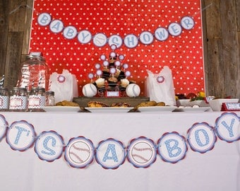 Baseball Baby Shower Banner -  ITS A BOY Party Sign - Baseball Baby Shower Decorations in Blue and Red