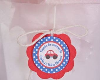 Cars Theme Favor Tags - Car Baby Shower Decorations in Red & Blue (12)
