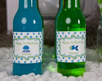 Under The Sea Birthday Party Water Bottle Labels - Ocean Birthday Party Decorations in Green and Blue (12)